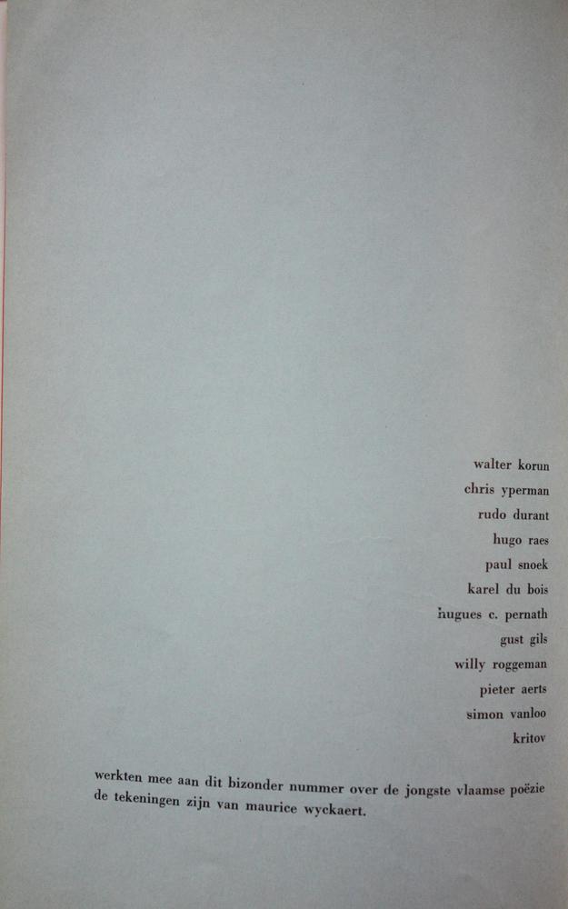 Inhoudstabel speciaal nummer over Jongste Vlaamse poëzie - jaargang 4 nummer 3.jpg