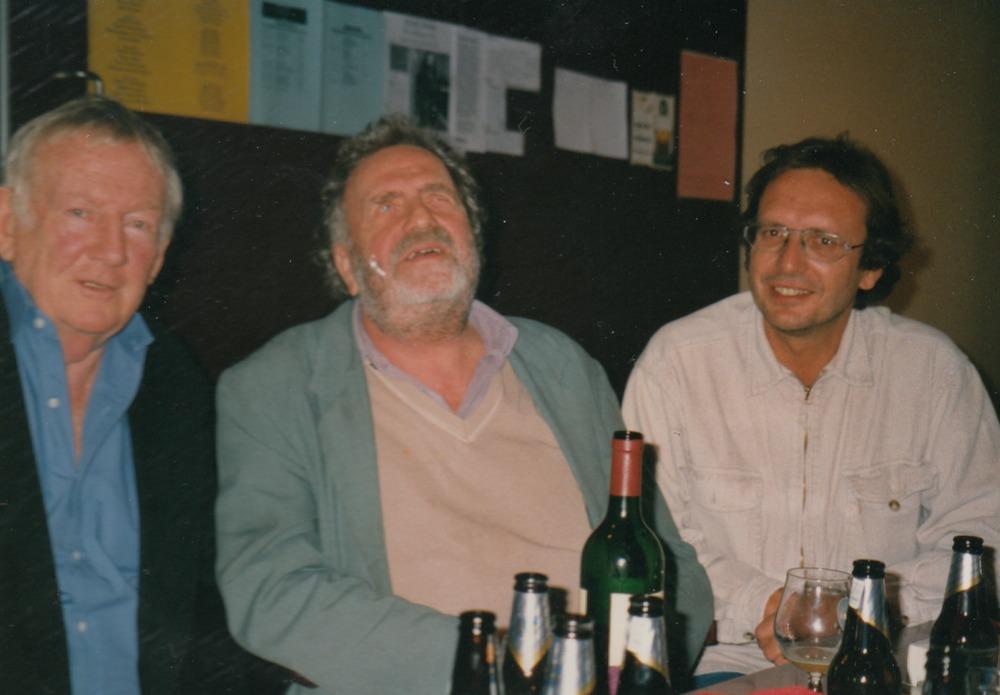 Hugo Claus, Marcel van Maele en Luuk Gruwez tijdens 'Den Haag Taalt'