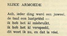 Gedicht 'Rijke Armoede' uit Vormen -René Verbeeck