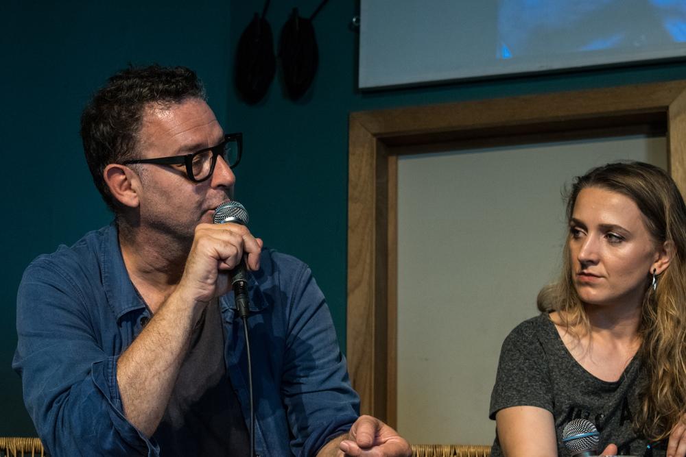 Alicia Gescinska en Peter Verhelst op Apéro Poëzie #5 tijdens TAZ 2018