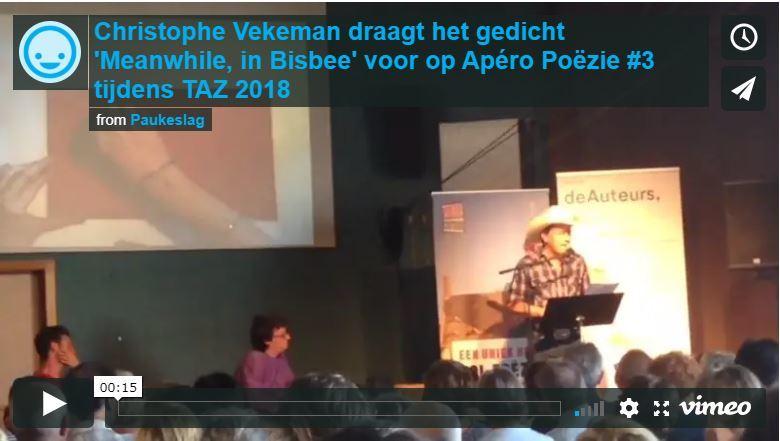 Christophe Vekeman draagt het gedicht 'Meanwhile, in Bisbee' voor op Apéro Poëzie #3 tijdens TAZ 2018