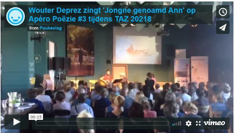 Wouter Deprez zingt 'Jongne genoamd Ann' op Apéro Poëzie ;#3 tijdens TAZ 2018