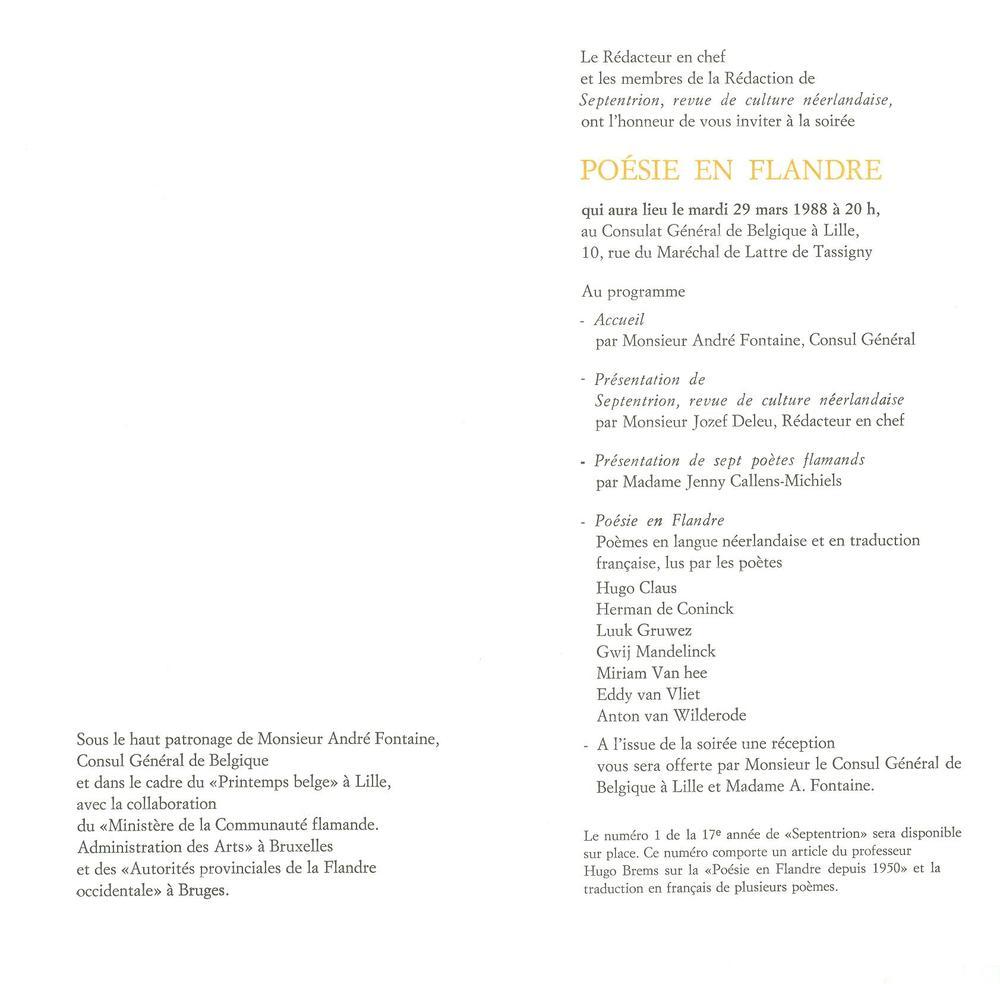 Poésie en Flandre - uitnodiging