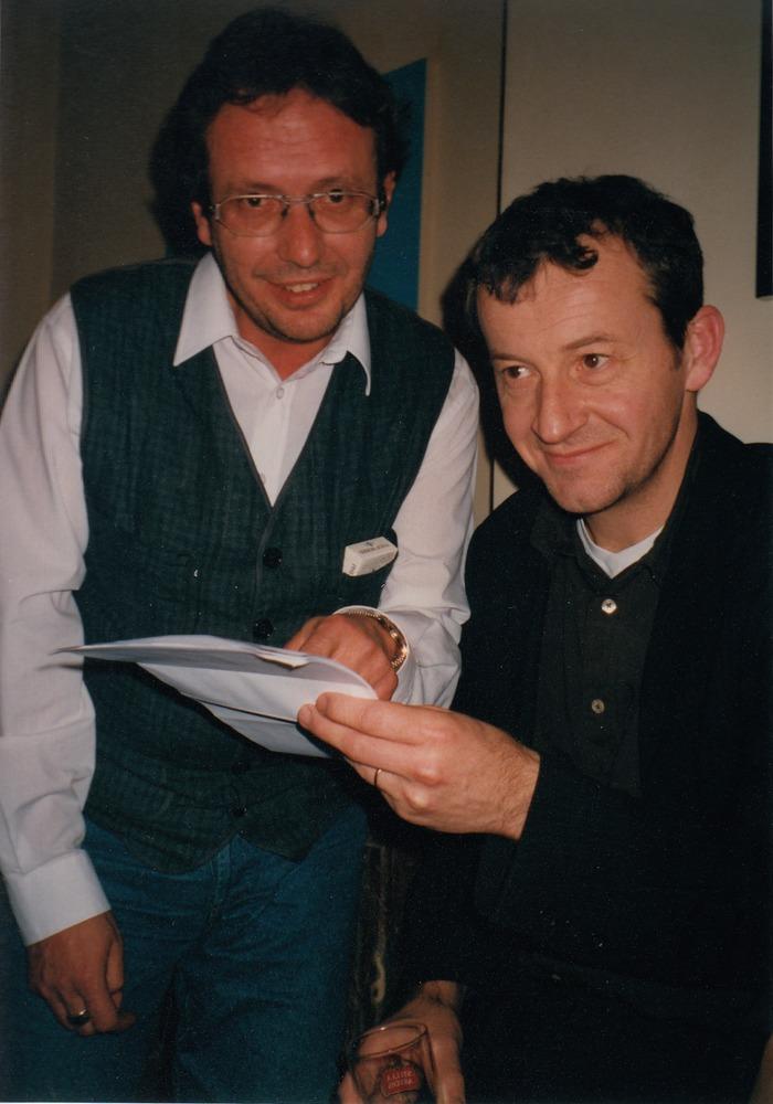 Luuk Gruwez met uitgever Peter Nijssen