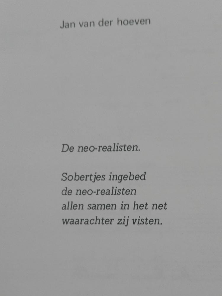 Gedicht 'De Neo-realisten van Jan Van der Hoeven in Radar 3/4