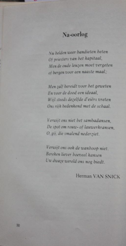 Gedicht 'Na-oorlog' uit De Meridiaan - Herman Van Snick