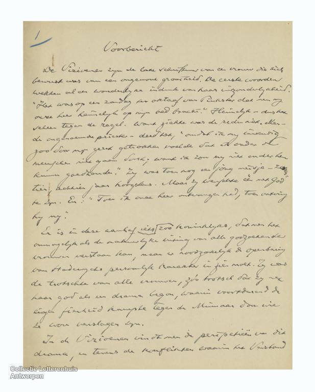 Handschrift van de inleiding van: Albert Verwey. De Vizioenen (1922)
