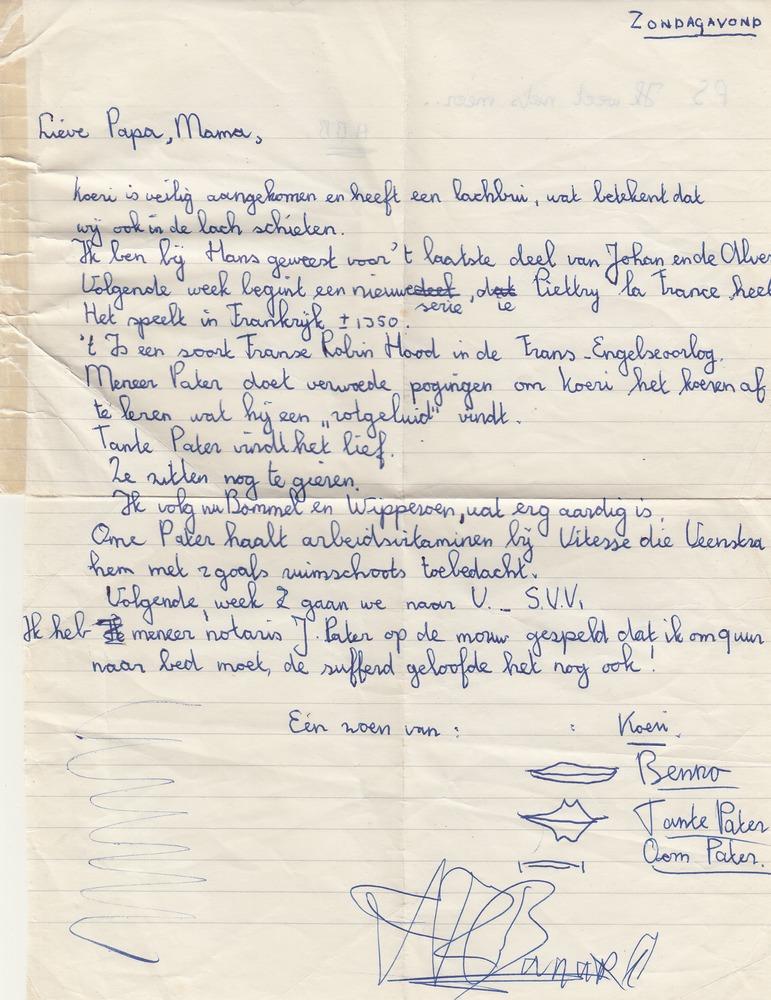 Brief van Benno Barnard aan ouders