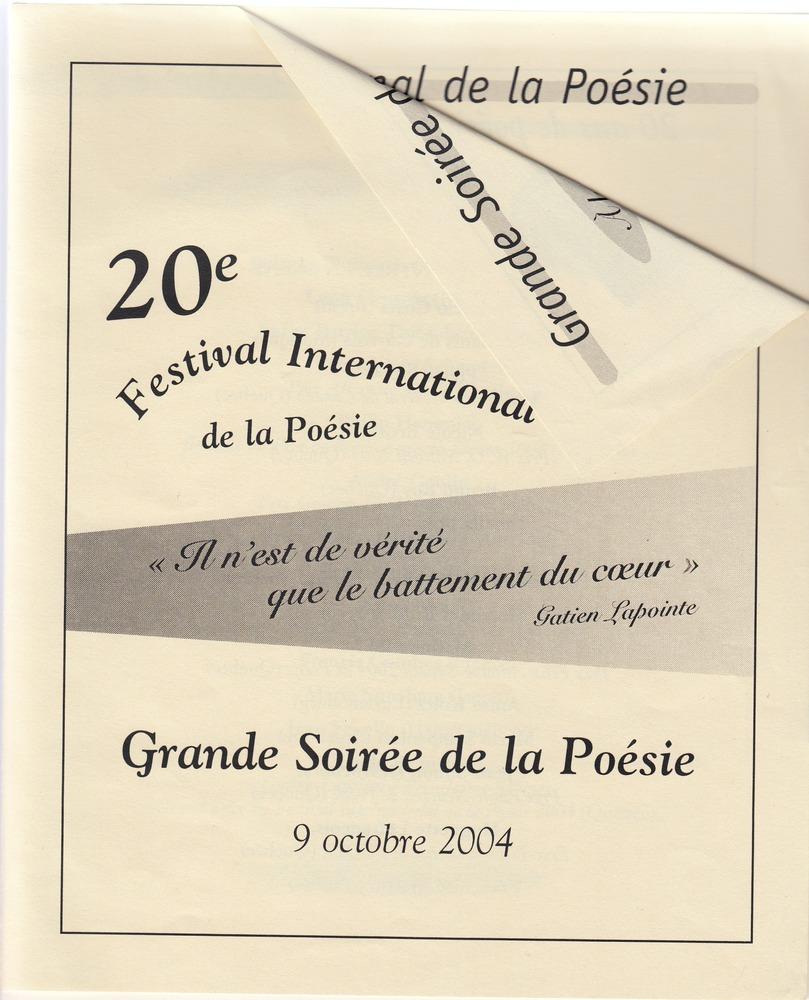 Folder 20ste Festival Interational de la Poésie de Trois Rivières