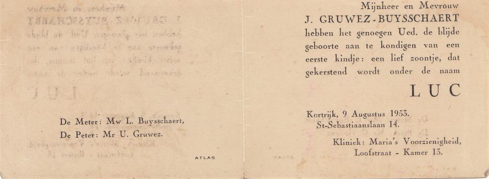 Geboortekaartje Luuk (Luc) Gruwez