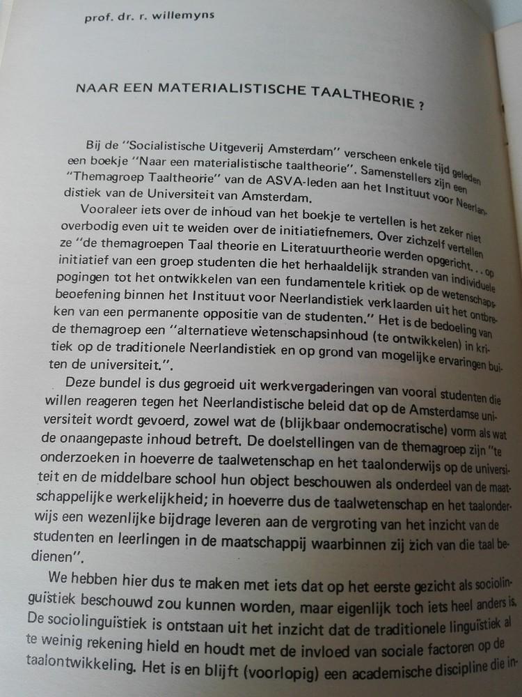Radar: Willemyns 'Naar een materialistische taaltheorie' in Radar 2