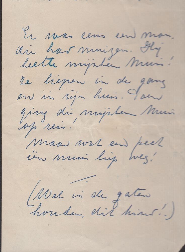 Fragment uit een brief van Benno Barnards kleuterjuf aan zijn vader
