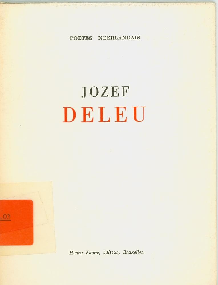 Cover Poètes néerlandais - Jozef Deleu