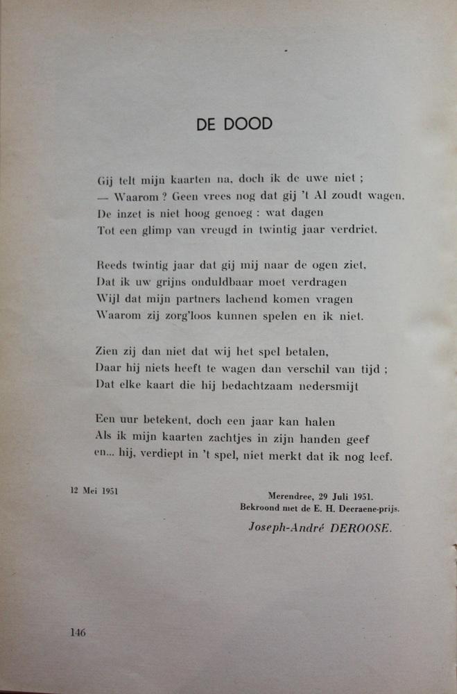 Gedicht 'De Dood' uit De Meridiaan - Joseph-André Deroose