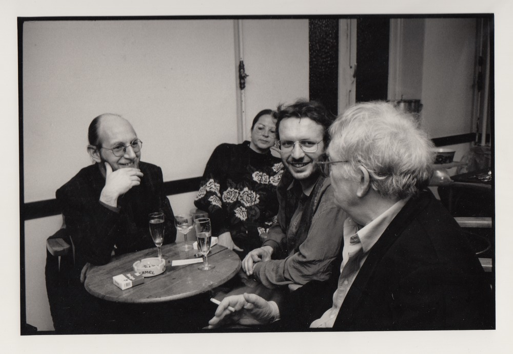 Eriek Verpale, Mieke Deferme, Luuk Gruwez en Hugo Claus tijdens Saint-Amour, 1991
