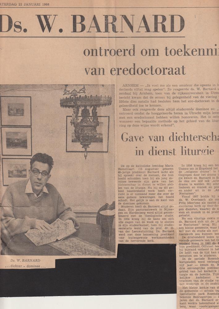 Artikel over Willem Barnard die eredoctoraat ontvangt in de theologie