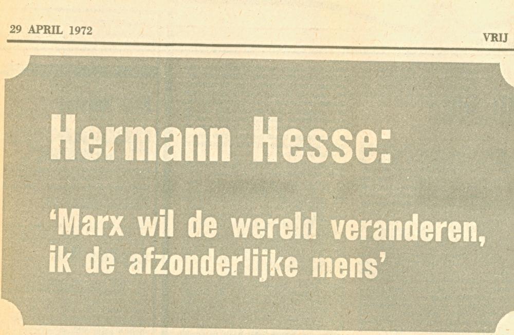 Fragment uit krantenknipsel Vrij Nederland 29 april 1972