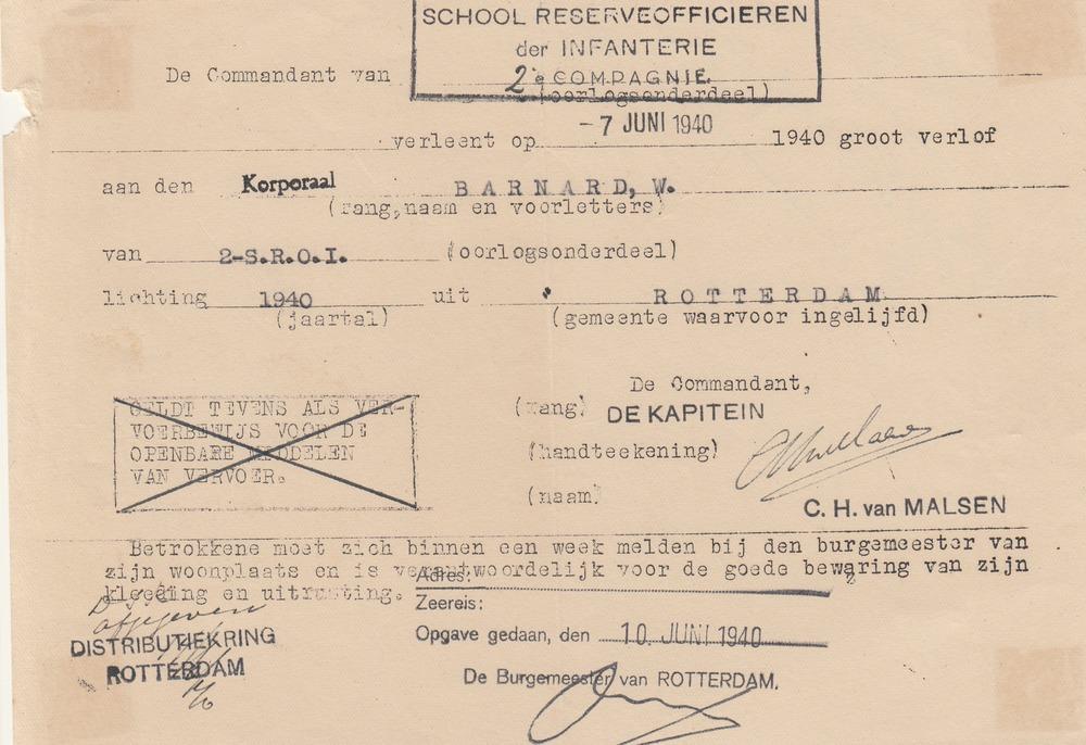 Mobilisatie Willem Barnard / archief Barnard
