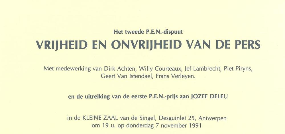 Jozef Deleu krijgt de eerste P.E.N.-Prijs