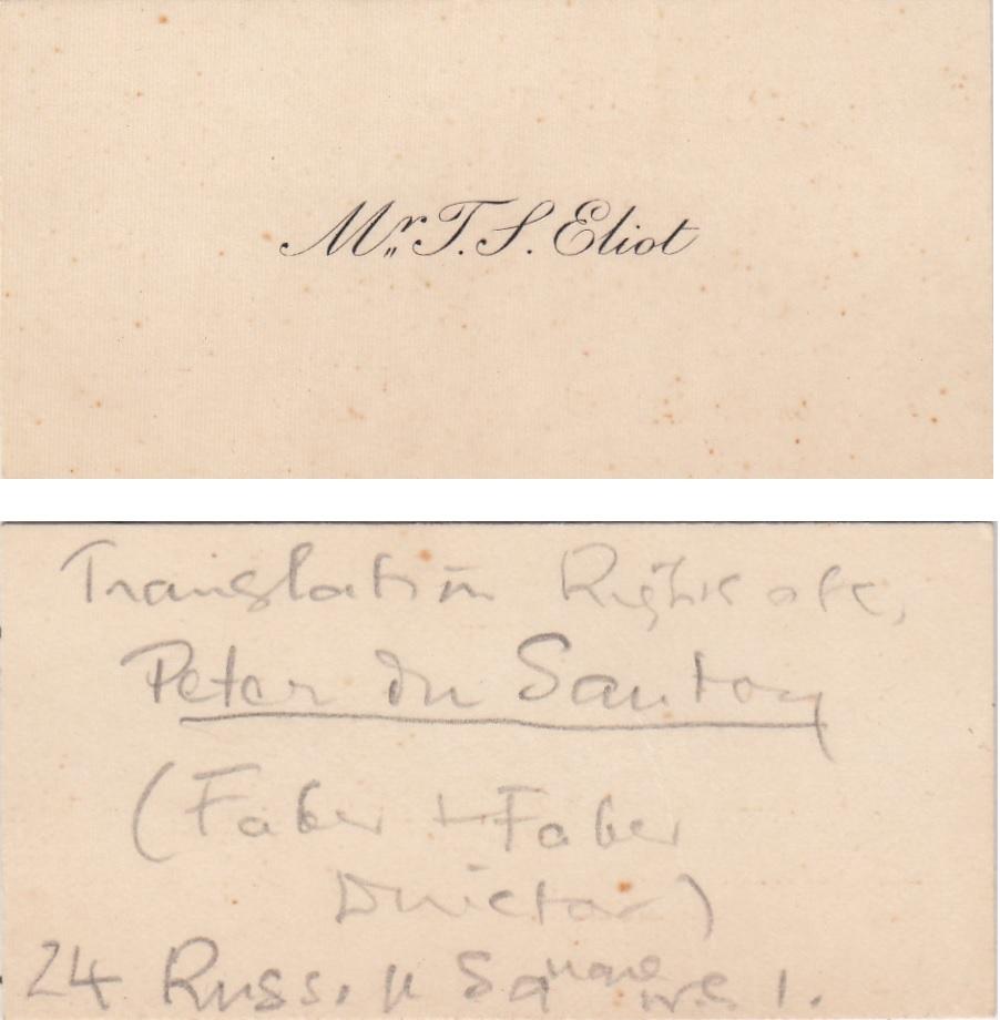 Het visitejaartje van T.S. ELiot, met een aantekening van de auteur zelf
