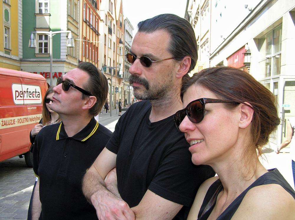 Menno Wigman, Anne Provoost en Manu Claeys tijdens het poëziefestival in Wroclaw