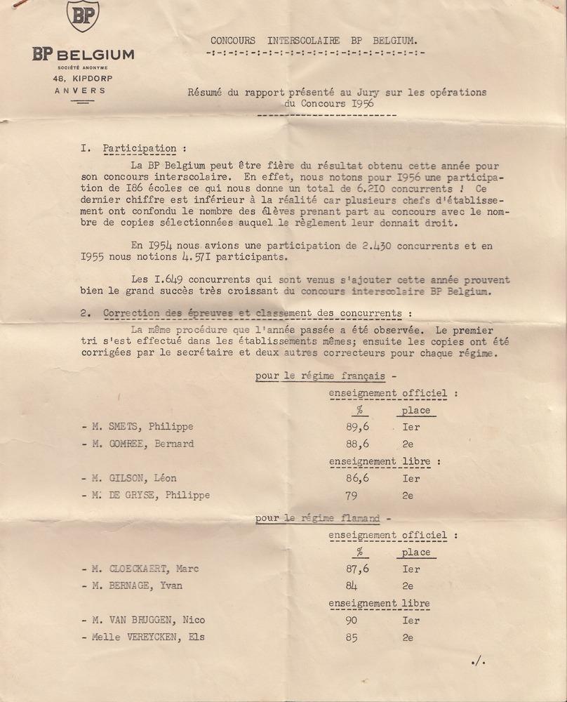 Concours interscolaire BP Belgium: résumé du rapport présenté au Jury sur les opérations du Concours 1956