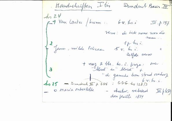 Fiche  Gezelle archief - handschrift Christine D'haen