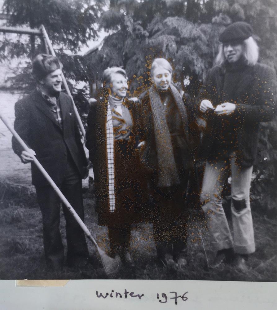 D'haen met haar gezin in 1976