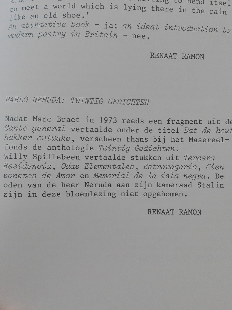 Radar: Renaat Ramon over Pablo Neruda