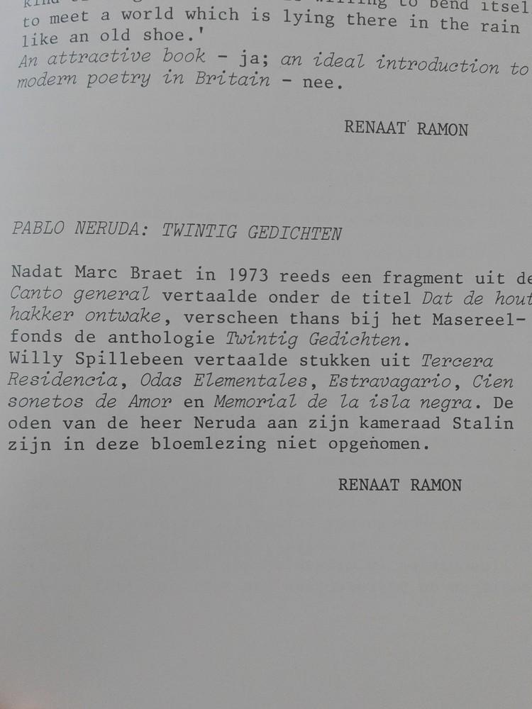 Radar: Renaat Ramon over Pablo Neruda