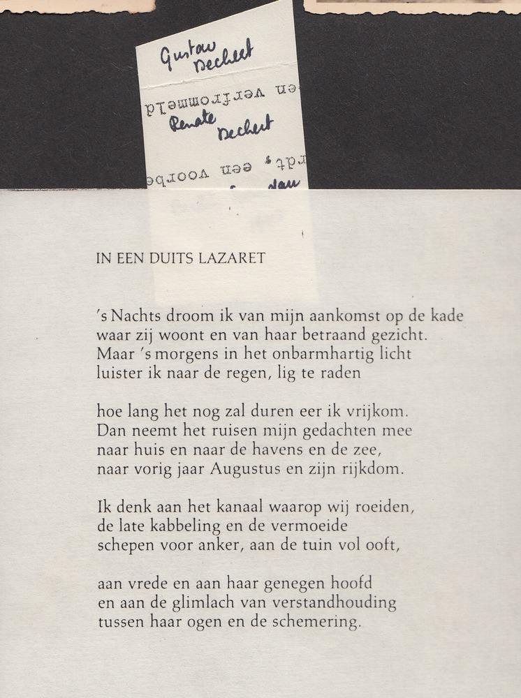 Ongepubliceerd gedicht van Guillaume van der Graft: 'In een Duits lazaret'