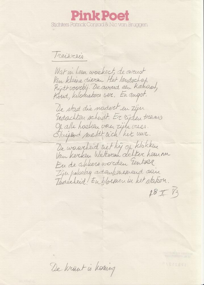 Handschrift 'Treinreis' door Nic van Bruggen