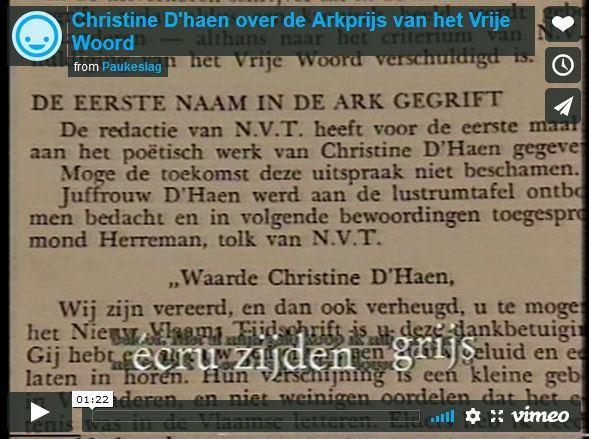 Christine D'haen over de Arkprijs van het Vrije Woord