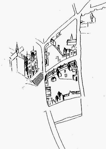 Tekening van het begijnhof van Bloemardinne door Charles Ruelens