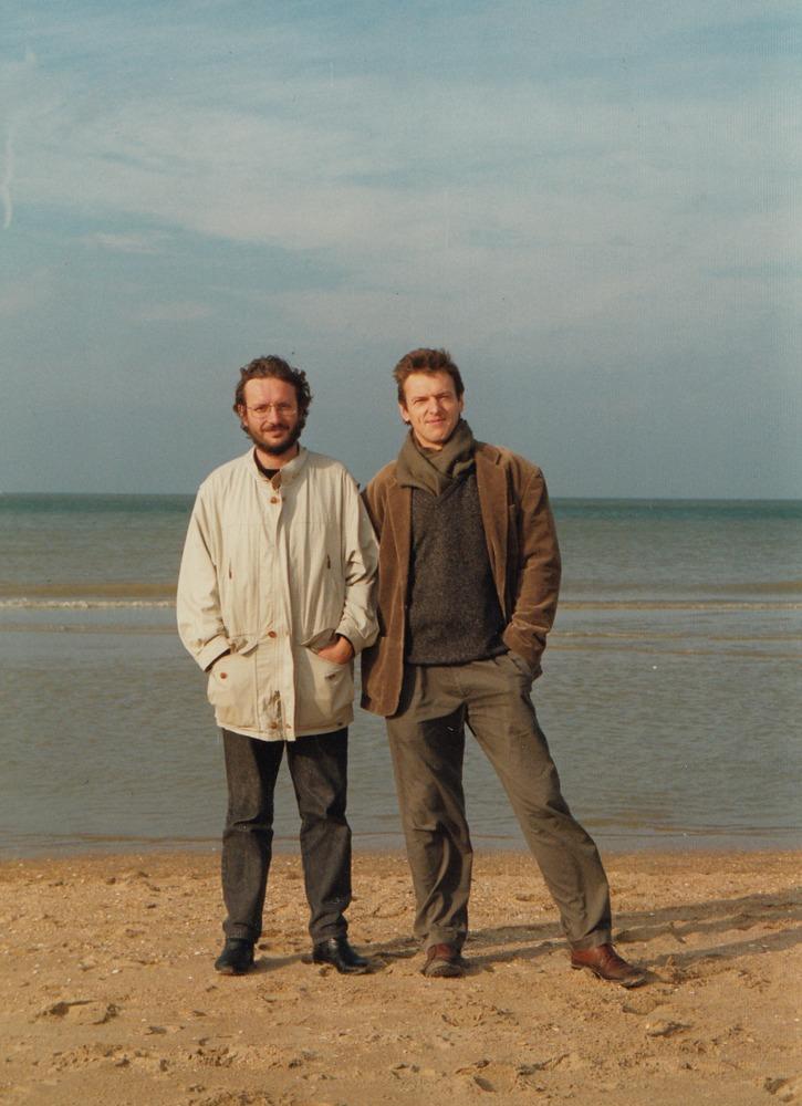 Luuk Gruwez en Johan Parmentier aan de zee