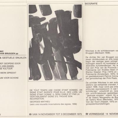 Uitnodiging tentoonstelling 'Nikolaas', Nic van Bruggen