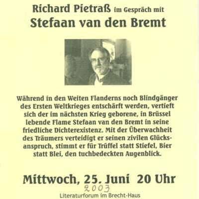 Leaflet voor lezing met Stefaan van den Bremt in het Brecht-Haus in Berlijn