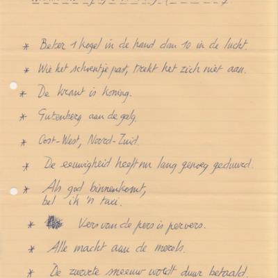 Handschrift 'Sloganesken' Nic van Bruggen