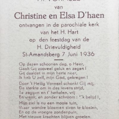 D'haen - prentje Plechtige  Communie en H. Vormsel, 1936